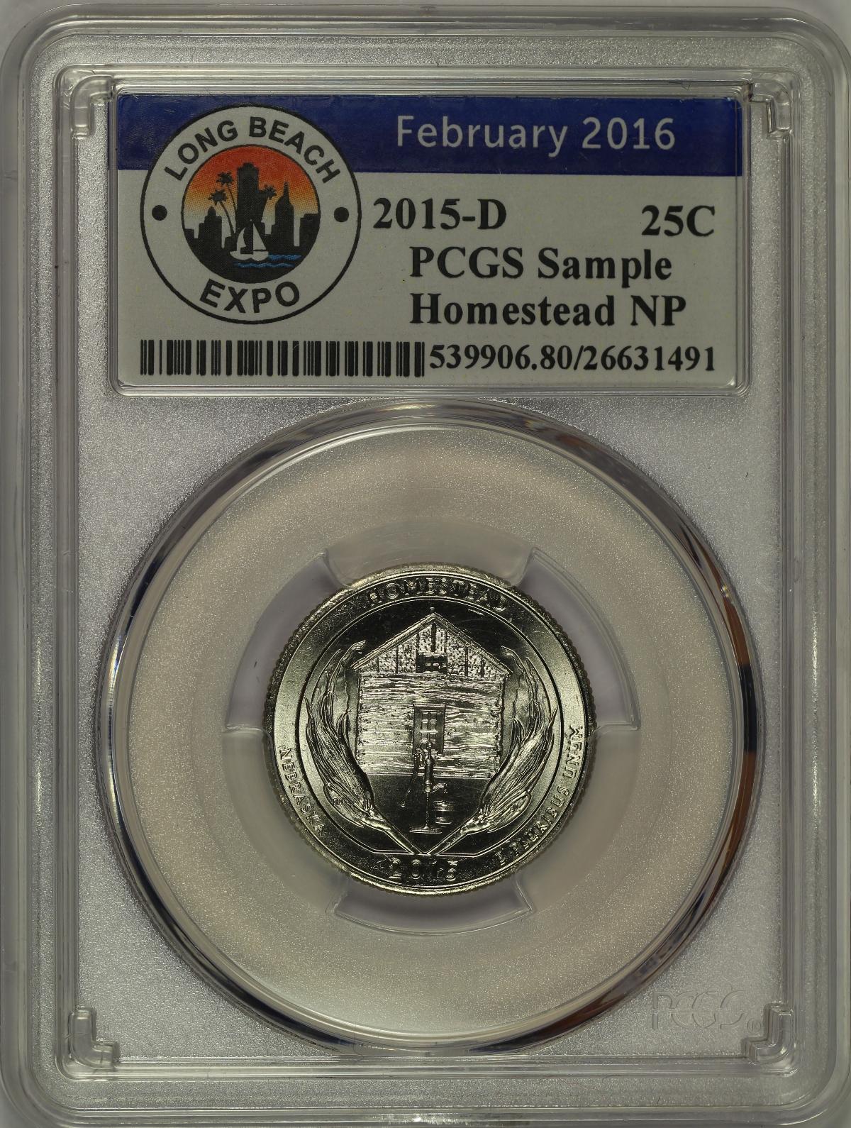 2015 S Homestead NP Quarter 25c PCGS MS66 USA Flag