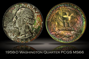 1958-D Washington Quarter PCGS MS66