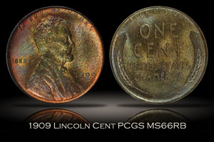 1909 Lincoln Cent PCGS MS66RB