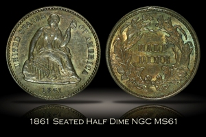 1861 Seated Half Dime NGC MS61