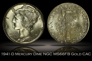 1941-D Mercury Dime NGC MS66FB Gold CAC