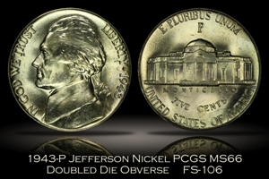 1943-P Jefferson Nickel FS-106 DDO PCGS MS66