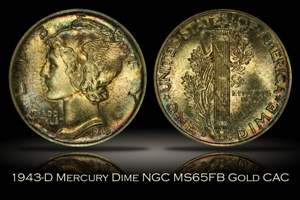 1943-D Mercury Dime NGC MS65FB GOLD CAC
