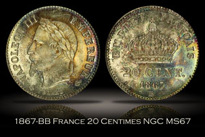1867-BB France 20 Centimes NGC MS67