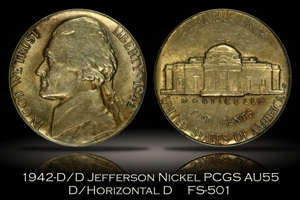 1942-D/D Jefferson Nickel FS-501 D/Horizontal D PCGS AU55