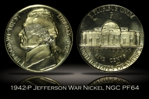 1942-P Proof Jefferson War Nickel NGC PF64