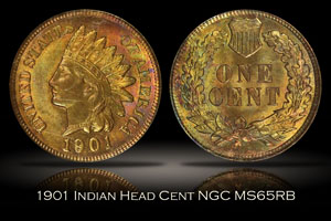 1901 Indian Head Cent NGC MS65RB