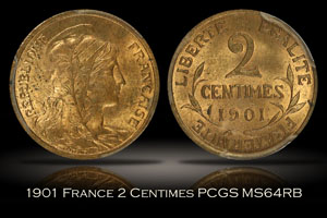 1901 France 2 Centimes PCGS MS64RB