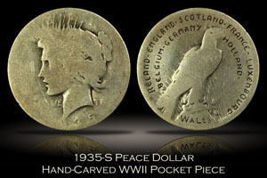 1935-S Peace Dollar Hand-Carved WWII Pocket Piece
