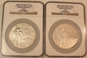 1988 Young Astronauts 6 oz. & 12 oz. Silver Medal Set NGC MS69