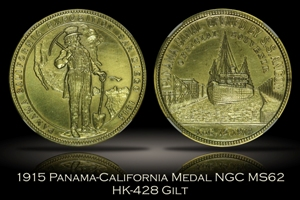1915 Panama-California Official Medal Gilt HK-428 NGC MS62