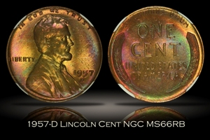 1957-D Lincoln Cent NGC MS66RB