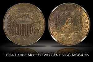 1864 Large Motto Two Cent NGC MS64BN