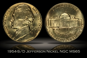 1954-S/D Jefferson Nickel NGC MS65
