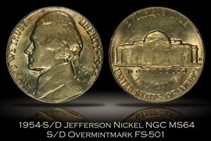 1954-S/D Jefferson Nickel NGC MS64