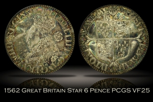 1562 Great Britain 6 Pence Star PCGS VF25
