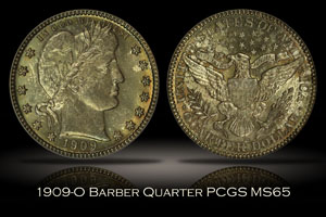 1909-O Barber Quarter PCGS MS65