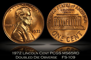1972 Lincoln Cent DDO FS-109 PCGS MS65RD