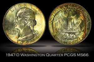 1947-D Washington Quarter PCGS MS66