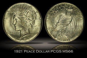 1921 High Relief Peace Dollar PCGS MS66