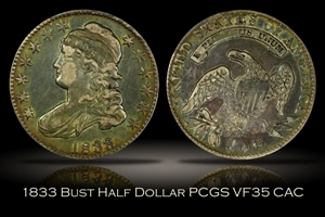 1833 Capped Bust Half Dollar PCGS VF35 CAC