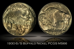 1930-S/S Buffalo Nickel RPM Variety PCGS MS66