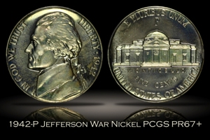 1942-P Proof Jefferson War Nickel PCGS PR67+