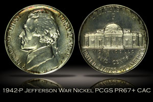 1942-P Proof Type 2 Jefferson War Nickel PCGS PR67+ CAC