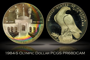 1984-S Proof Olympic Silver Dollar PCGS PR68DC