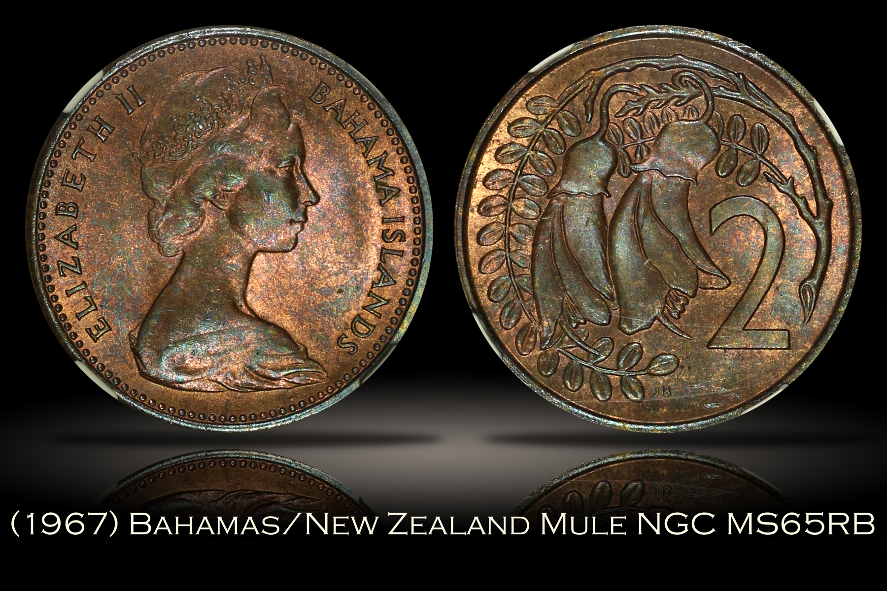 1967 Bahamas New Zealand 2 Cent Mule Ngc Ms65rb