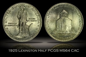 1925 Lexington Half PCGS MS64 CAC w/ Wooden Box