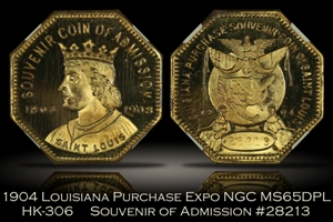1904 Louisiana Purchase Expo Admission Medal HK-306 NGC MS65DPL