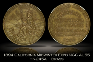 1894 California Midwinter Expo Medal HK-245A NGC AU55