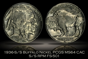 1936-S/S Buffalo Nickel FS-501 PCGS MS64 CAC