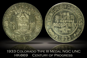 1933 Colorado Century of Progress Type III Silver HK-869 NGC UNC Details
