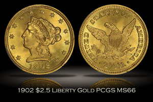 1902 $2.5 Liberty Head Gold PCGS MS66