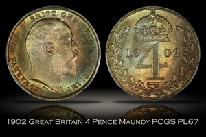 1902 Great Britain 4 Pence Maundy PCGS PL67