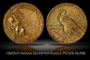 1925-D $2.5 Indian Quarter Eagle PCGS AU58