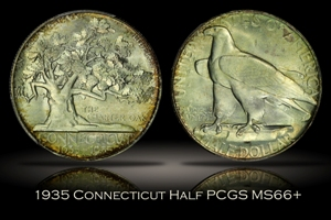 1935 Connecticut Half PCGS MS66+