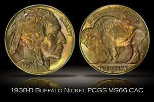 1938-D Buffalo Nickel PCGS MS66 CAC