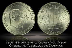 1953 N S Denmark 2 Kroner NGC MS64 Greenland Tuberculosis Campaign