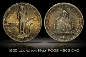 1925 Lexington Half PCGS MS63 CAC w/ Wooden Box