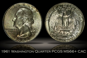 1961 Washington Quarter PCGS MS66+ CAC