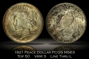 1921 High Relief Peace Dollar Top 50 VAM 3 PCGS MS63
