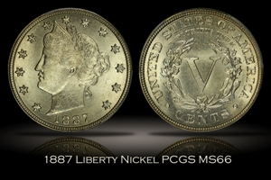 1887 Liberty Nickel PCGS MS66