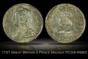 1737 Great Britain 2 Pence Maundy PCGS MS62