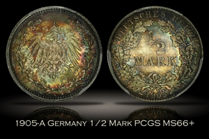 1905-A Germany 1/2 Mark PCGS MS66+