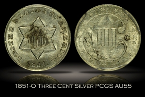 1851-O Three Cent Silver PCGS AU55