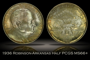 1936 Robinson Arkansas Half w/ Tab Holder PCGS MS66+