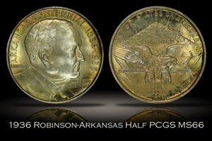 1936 Robinson Arkansas Half PCGS MS66